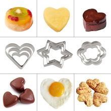 3Pcs/lot Baking Mould Star Heart Flower Cutter Stainless Steel Fondant Egg Cookie Cutters Biscuit Pastry DIY Mold
