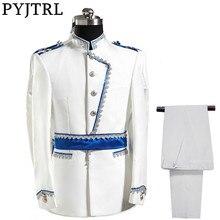 PYJTRL Europa Armee Stil Stehkragen Weiß Blau Hochzeit Für Männer DJ Bühne Sängerin Männer Anzüge Mit Hosen Kostüm Homme slim Fit