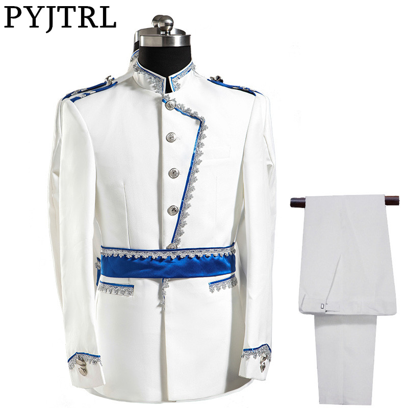 PYJTRL Europe Army Style Stand Collar White Blue Wedding For Men DJ Stage Singer Men Suits With Pants Costume Homme Slim Fit