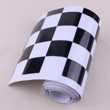 CITALL Universal Car Motorcycle Bicycle Stickers Vinyl Black&White Checkered Flag Decal Tape Racing