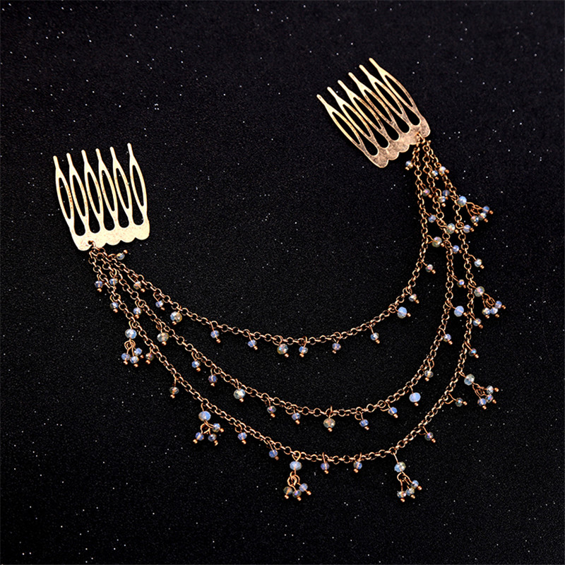 Women Hairbands Personalized Multi Layer Beads Chain Indian Hair Jewelry New Vintage Hair Accessories