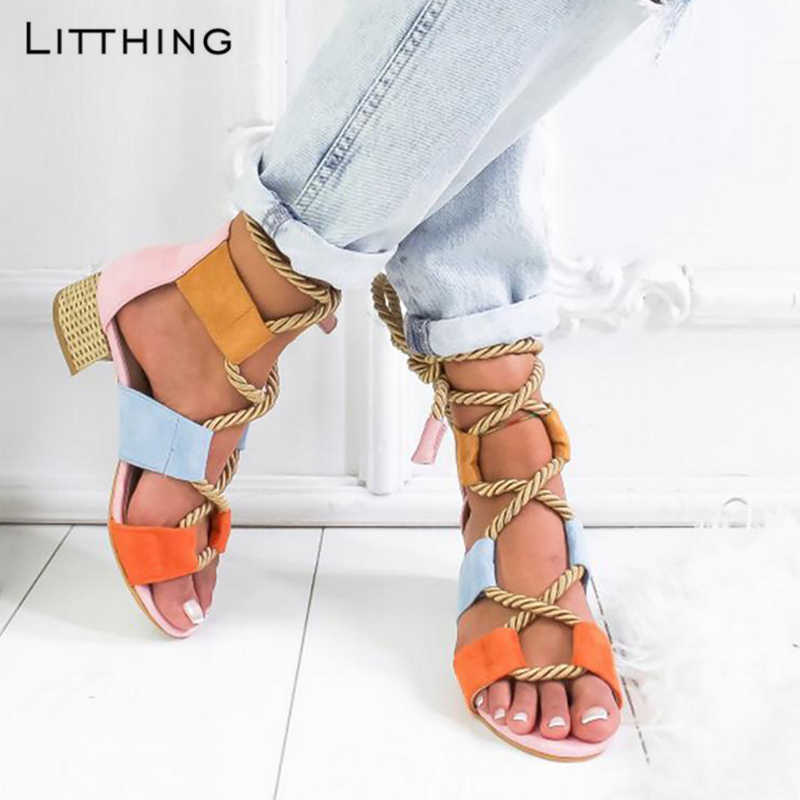 Litthing 2019 Torridity Fashion fasten Espadrilles Women Sandals Heel Pointed  Mouth Sandals Hemp Rope  Up  Sandal