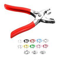100 takım Prong Yüzük Basın Çiviler Yapış Bağlantı Elemanları Poppers Düğmesi 9.5mm 10 Renkler + Pense