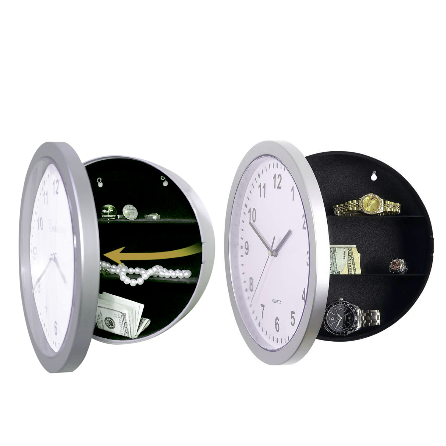 Novelty Wall Clock Diversion Safe Secret Stash Money Cash Jewelry Toy Storage Security Lock Box Tin