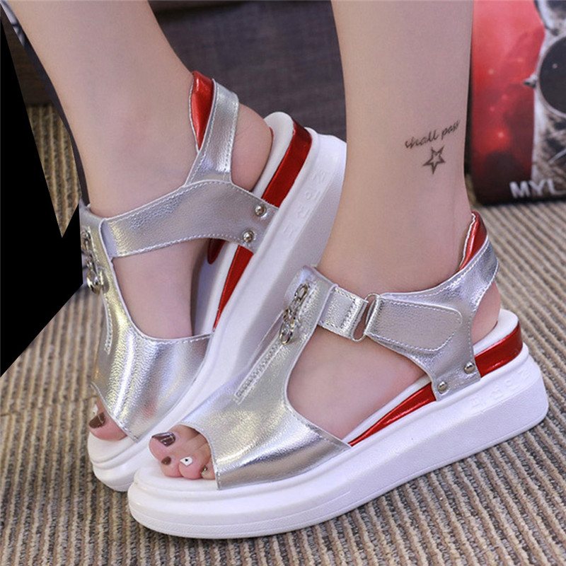 Sandals Summer Platform-Shoes Women Wedges Thick-Bottom Fish-Mouth Zipper Woman New-Fashion