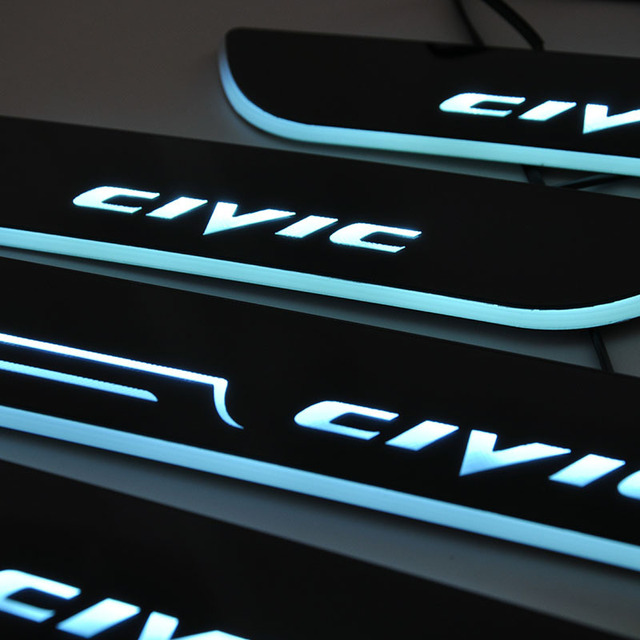 Car Styling For Honda Civic Led Door Sill Scuff Plate