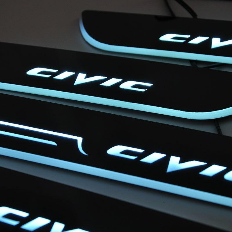 Coche-estilo para Honda CIVIC LED travesaño placa bienvenida Pedal umbral brillante pedal para 2006- HONDA CIVIC 2017