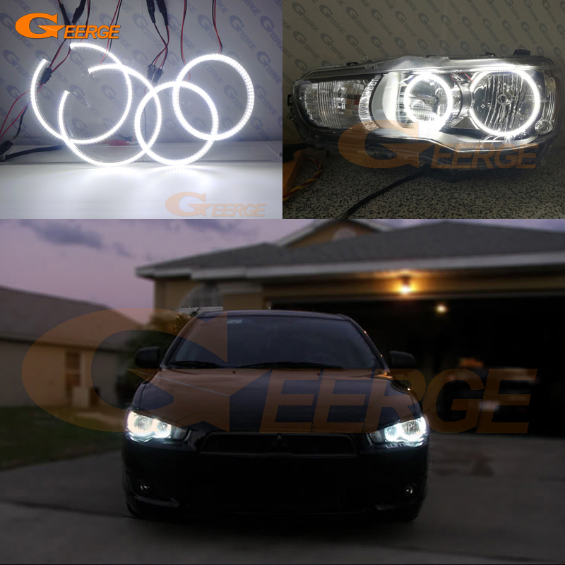 For Mitsubishi Lancer 2008-2015 Halogen headlight Excellent Ultra bright illumination smd led Angel Eyes kit ветровики prestige mitsubishi lancer 10 sd hb 07