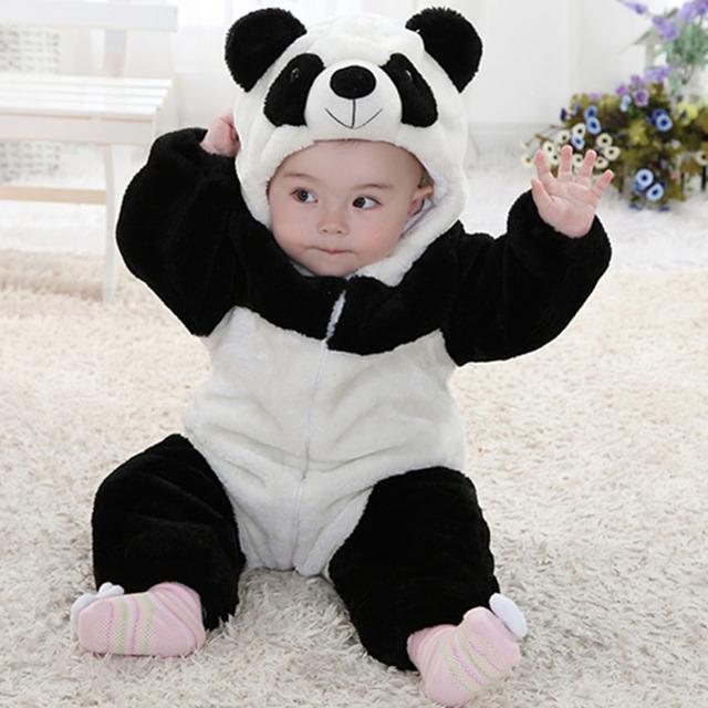 Bebê recém-nascido Primavera Traje Do Bebê Romper Infantil Macacão Animais bonito Flanela Romper Do Bebê Da Menina do Menino Roupas Panda Urso Pato Romper