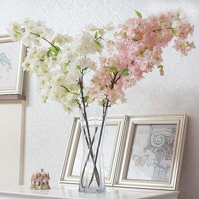 Guirlande de fleurs en soie artificielle blanche ou rose, fleurs de cerisier, décorations de mariage, Bouquet de fleurs pour la décoration de pièces de mariage l4573