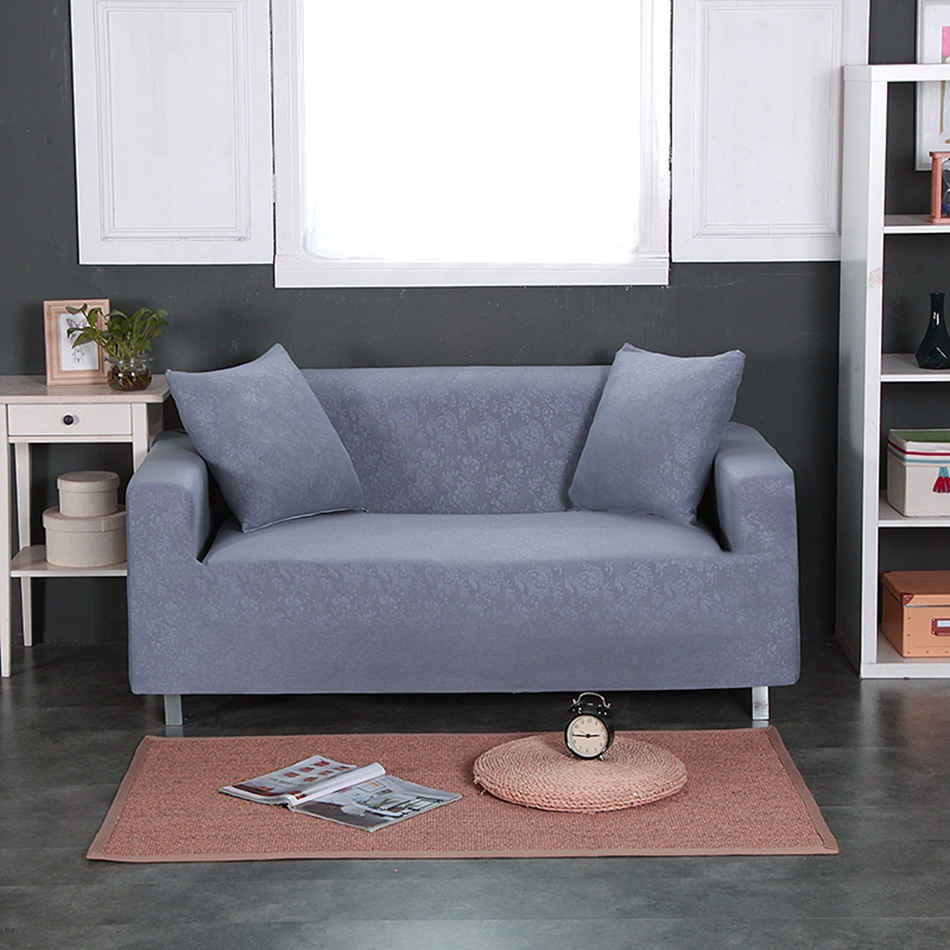 grey embossing solid color universal stretch furniture covers for living room couch loveseat. Black Bedroom Furniture Sets. Home Design Ideas