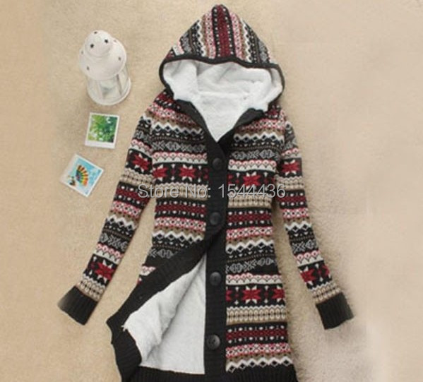 free shipping Women Knitwear Thick Winter Hooded Cardigan Coat Loose Sweater  Fleece Lined Tops-in Cardigans from Women s Clothing on Aliexpress.com ... 73db7b4c0