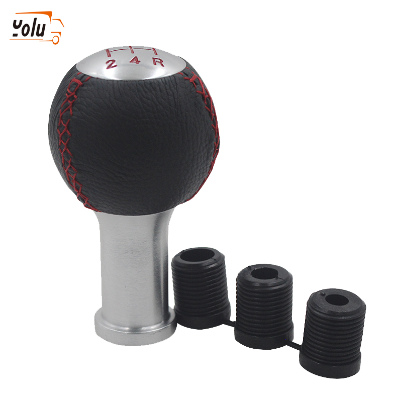 YOLU Red Stitched Black Leather Gear Stick Shift Knob 5 Speed Car Gear Knob Universal for Honda Kia Toyota in Gear Shift Knob from Automobiles Motorcycles