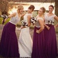 Бордовый тюль с белым кружевом Длинные платья для невесты 2019 Bridedmaid платья V шеи недорогое свадебное торжество платья большого размера
