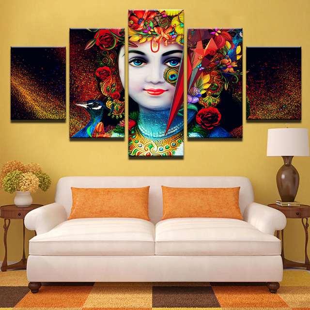 Wall Painting For Living Room India Dark Green Paint Colors Hd Printed Pictures Canvas Modular Art Frame 5 Pieces God Radha Krishna Home Decor Posters