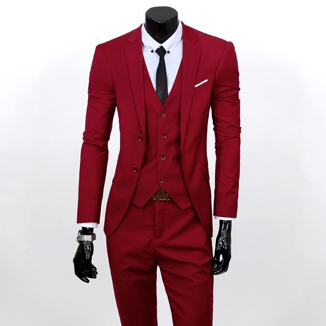 2016 Homens Blazer Ternos Do Noivo Mais Recentes Projetos de Casaco + Calça + Colete 3 Peças Set Único Breasted Dos Homens Blazers Casuais Ternos de casamento Para Homens