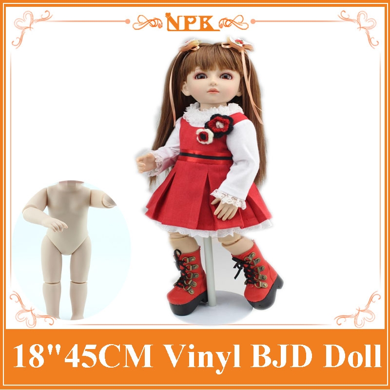 High Quality 18inch BJD Dolls With Fashion Baby Doll Clothes Hot 45cm Silicone Reborn Baby Doll Toys For Girls Brinquedos high quality elastic leather bottoms pants trousers for barbie doll clothes fashion outfit for 1 6 bjd dolls accessories