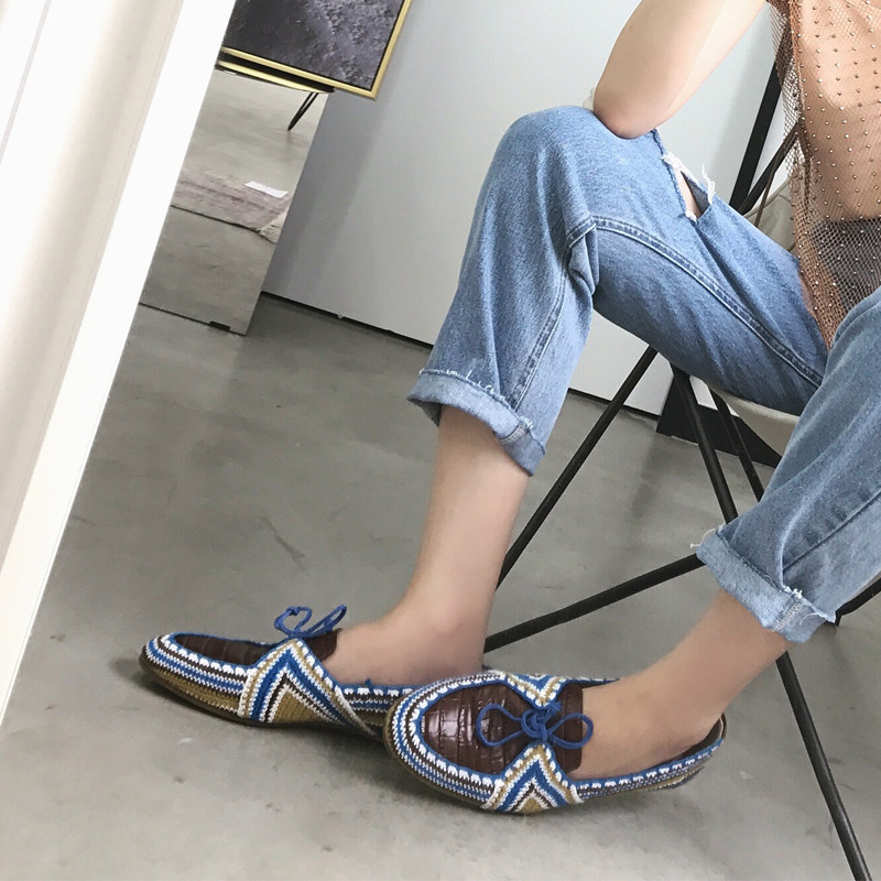 Zapatos Mocassins Bleu Appartements Rétro Chaussures Damskie Nouveau Buty Mujer Marque De Mesdames National Printemps Femme Style WqXBxZX5