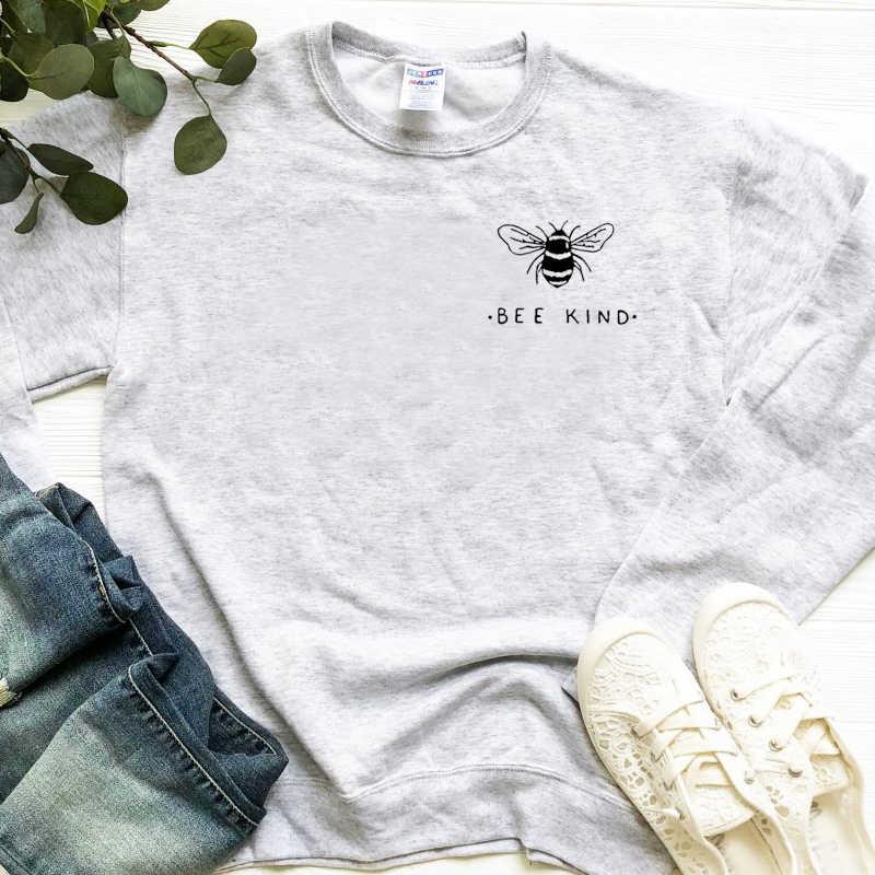 Arı tür Kawaii kadın kazak arılar cep baskı tişörtü rahat japon kadın grunge tumblr grafik kazaklar alıntı tops