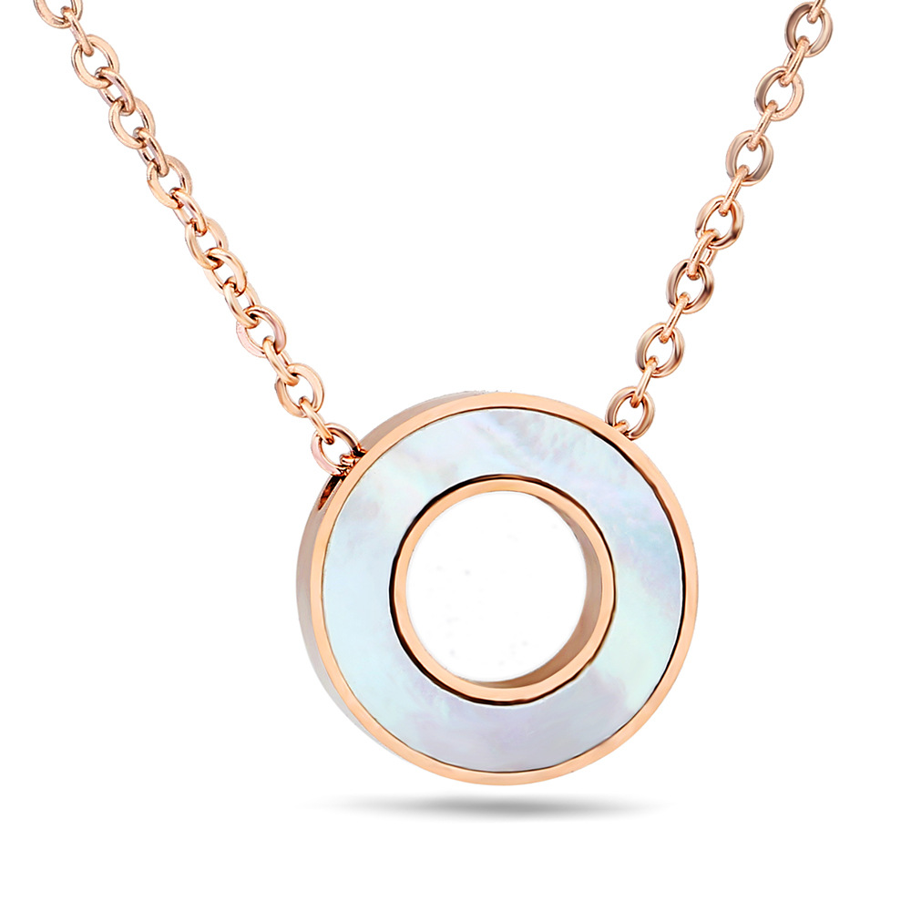 Fashion Stainless Steel Round Circle Black White Shell l Pendant Necklace For Women Gift Choker Necklace Rose Gold Color