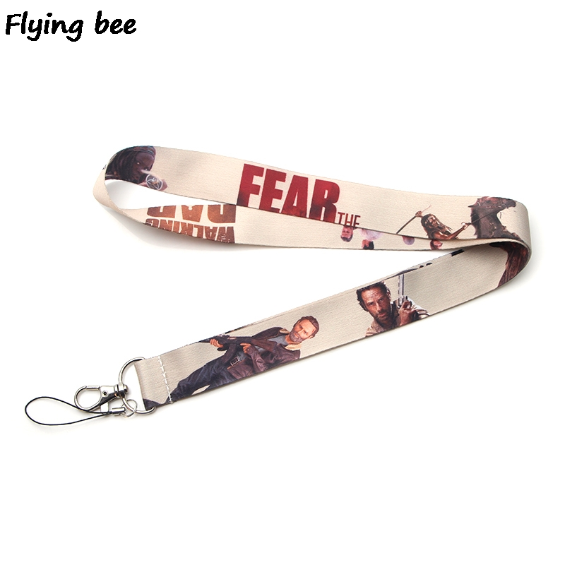 Flyingbee The Walking Dead Keychain Cartoon Cute Phone Lanyard Women Fashion Strap Neck Lanyards For ID Card Phone Keys X0111
