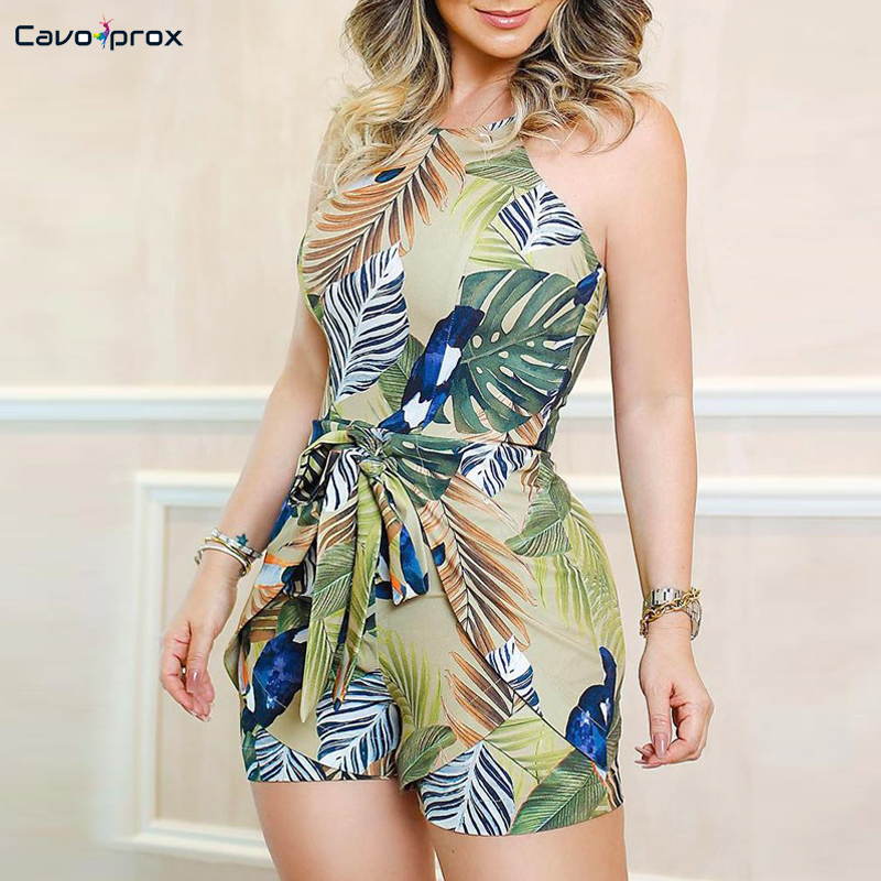Women Tropical Print Knotted Design   Romper   Skinny Casual Sleeveless Bodycon Summer Beach Style Holiday Fashion Playsuits