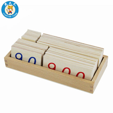 Baby Montessori Educational Wooden Toys Mathematics Preschool Learning Training Small Wooden Number Cards With Box (1-9000)