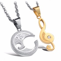1pair Fashion Stainless Steel Musical Note CZ Crystal Couple Pendant Necklaces For Valentine S Day Loves
