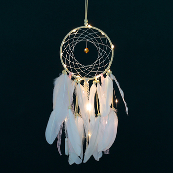 Led Light Diy Dreamcatcher Lace Ribbon Dream Catcher Kit Handmade Wall Decor Catchers Arts Crafts Diy Material Package