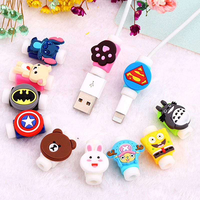 Cartoon Protector Cable Cord Saver Cover Coque for <font><b>iPhone</b></font> 8 Plus 4 4S 5 5S SE <font><b>5C</b></font> 6 6S 7 X Xs Max XR for Funda <font><b>iPhone</b></font> 7 Plus <font><b>Case</b></font> image