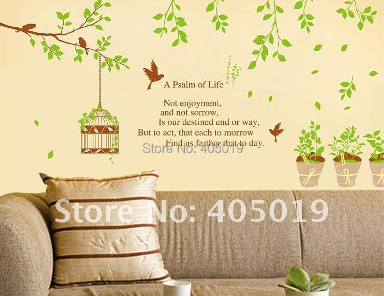 XY1062 Green Tree Wall Sticker Poem A Psalm Of Life Removable Transparent  Home Decal Size 0.9x1.5m Mixable 6% Off Total If 2lot In Wall Stickers From  Home ...