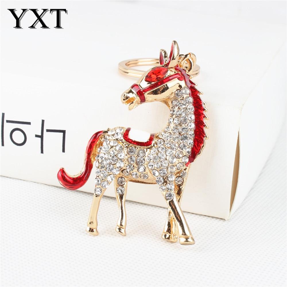 Adorable Red Horse New Cute Crystal Charm Purse Handbag Car Key Keyring Keychain Party Wedding Birthday Creative Good Gift