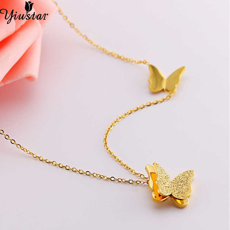 Yiustar Gold Color Stainless Steel Double Butterfly Necklace Women Girls Cartoon Animal Choker Necklaces&Pendants Wedding Gifts