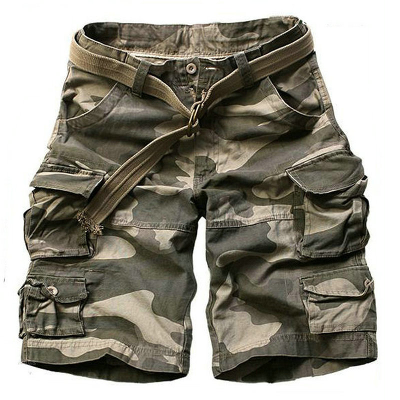 2017 Summer Multi pocket Mens Cargo Shorts Casual Big Size Loose Knee length Military Camouflage Shorts