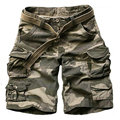2017 Summer Multi-pocket Mens Cargo Shorts Casual Big Size Loose Knee-length Military Camouflage Shorts Men Within Belt S-3XL