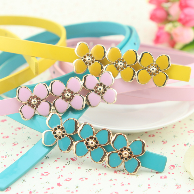 Candy Color Flower Thin Belt Women's Skirt Decoration Strap Oil Three Small Peach Strap BUY
