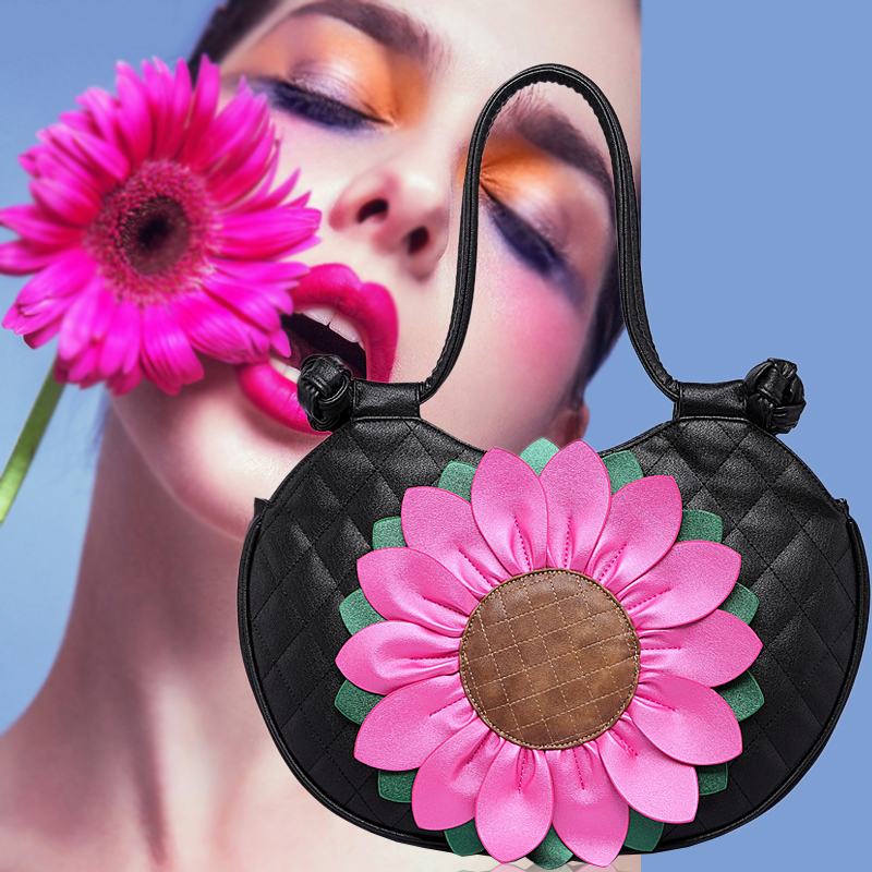 National Style Sunflower Small Handbag 2018 New PU Leather Casual Women Top-handle Bag Sent Friends Party Shoulder Bags Gifts china s yunnan national style pu leather women s handbag geometric pattern casual cross style square shoulder bag