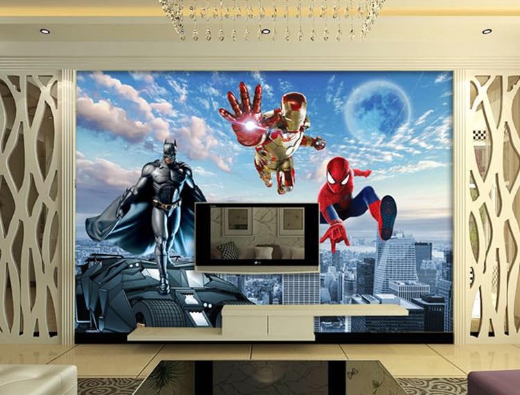 Aliexpress.com : Buy Custom 3D Photo Wallpaper Batman Iron Man Wallpaper  Spider Man Wall Murals Boys Bedroom Living Room TV Backdrop Wall Room Decor  From ... Part 66