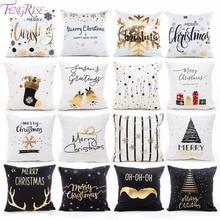 FENGRISE, 45x45 см, хлопок, лен, Merry Christmas, чехол, подушка, Рождественский Декор для дома, счастливый год, Декор,, Navidad, рождественский подарок