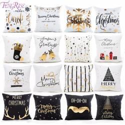 FENGRISE 45x45 см хлопок лен веселый рождественский Чехол Подушка Рождественские украшения для дома счастливый новый год Декор 2019