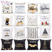 купить FENGRISE 45x45cm Cotton Linen Merry Christmas Cover Cushion Christmas Decor for Home Happy New Year Decor 2019 Navidad Xmas Gift дешево