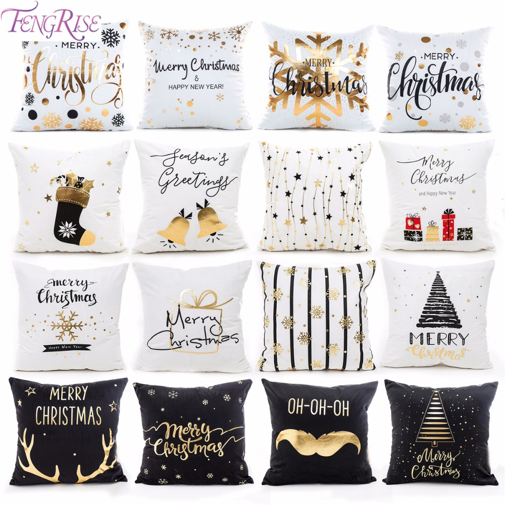 Popular  FENGRISE 45x45cm Cotton Linen Merry Christmas Cover Cushion Christmas Decor for Home Happy New Year