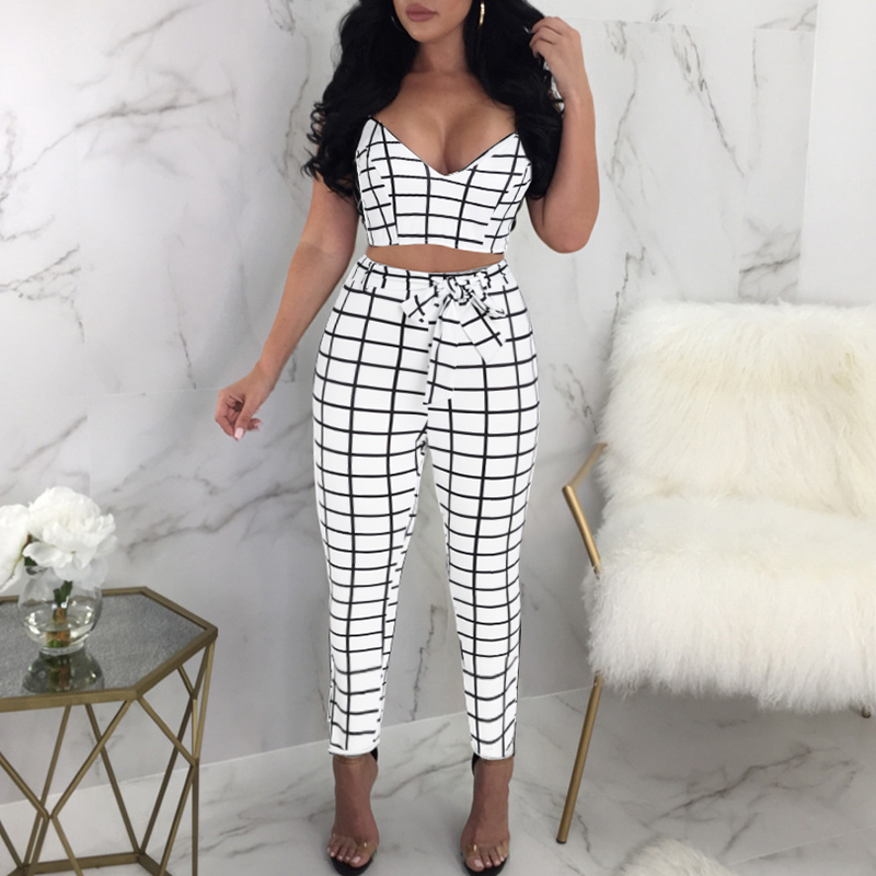 Glamaker Plaid Two Piece Set Sexy Jumpsuits&Rompers Women Bow Sash V Neck Bodycon Jumpsuit Summer Crop Fitness Playsuit Overalls by Glamaker