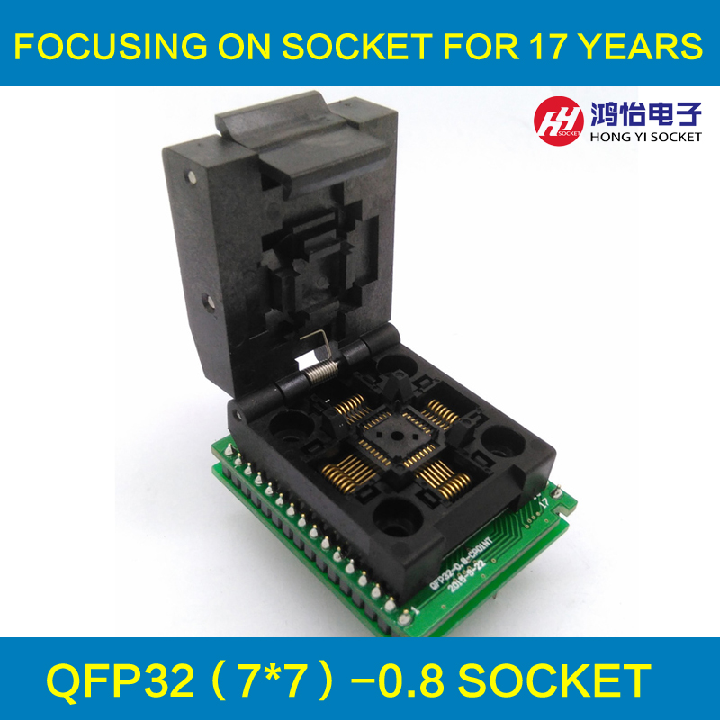 QFP32 TQFP32 LQFP32 to DIP32 Universal Programmer Pin Pitch 0.8mm IC Body Size 7x7mm Adapter SMT/SMD Test Socket fshh qfn18 to dip18 programmer adapter wson18 udfn18 mlf18 ic test socket size 3 6mmx3 6mm pin pitch 0 5mm