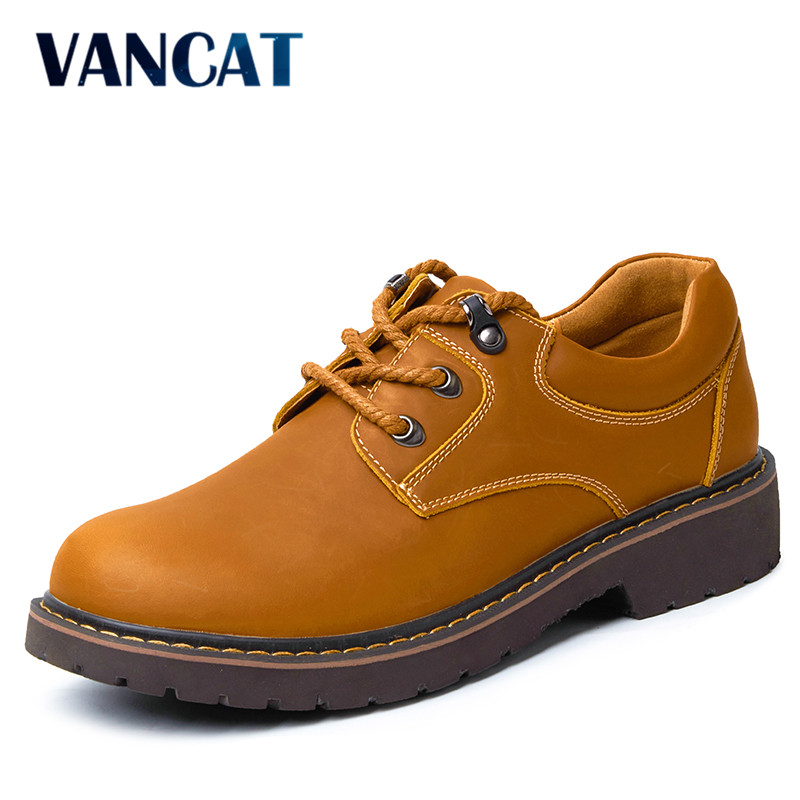 VANCAT Luxury Brand Genuine Leather Men Shoes Winter Work & Safety Shoes Fashion Casual Designer Male Shoes Leather Moccasins blaibilton brand winter warm velvet high top men casual shoes luxury genuine leather male footwear fashion designer mens sd3599