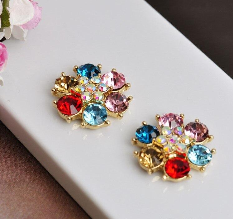 20 шт 24 мм Цветок Flatback прозрачный кристалл центральный цветные стразы кнопки золото для DIY browband аксессуары для свадебной прически - Цвет: 2
