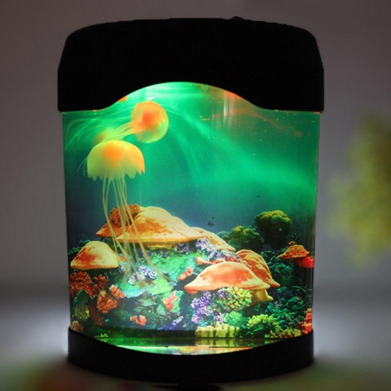 LEDLight Jellyfish Tank Sea World Swimming Mood Lamp Night Light Aquarium Nightlight Festival Home Decor Light Bedroom luminaria цена