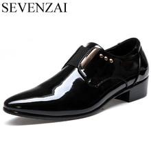 male formal italian patent leather footwear fashion glossy luxury brand men dress