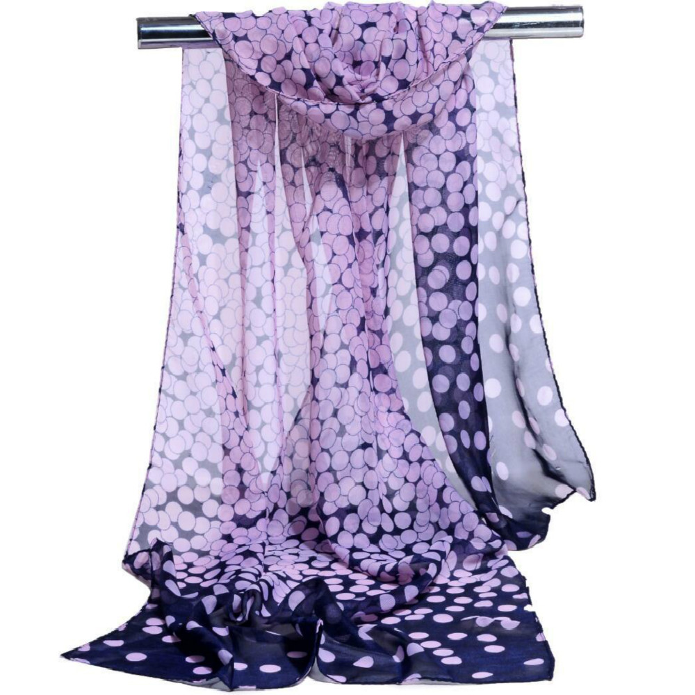2019 New Fashion Women Scarves Lady Polka Mjuk Silke Chiffon Scarf Headscarf Sjal Wrap För Lady Head Scarf Cape