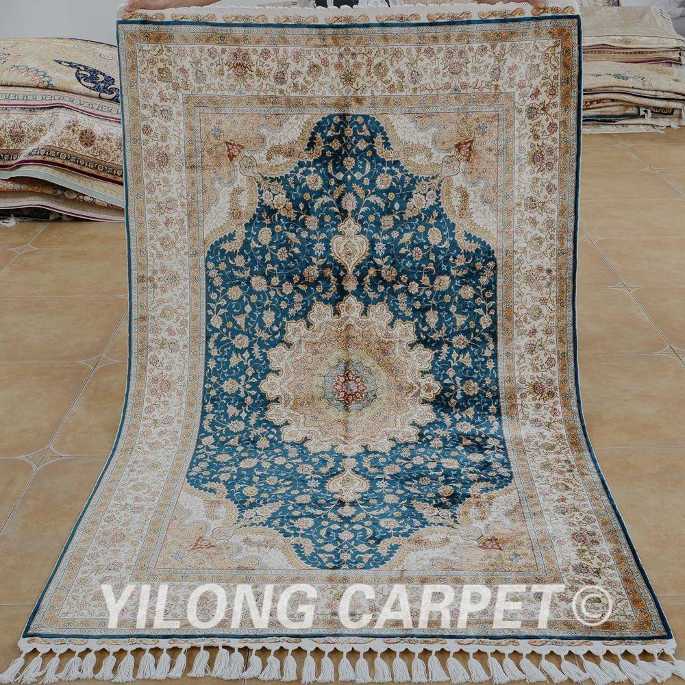 Yilong 4.1 'x6. 5' Tabriz tapis de soie bleu foncé vantage tapis de soie fins turcs (1544)